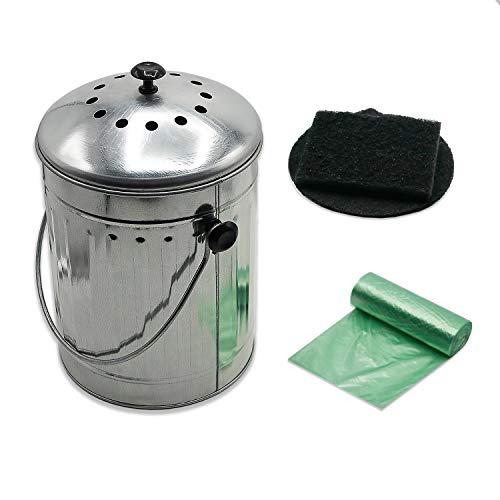 (Indoor Kitchen Steel Compost Bin With Charcoal Filters & Bonus Liners - 1.3 Gallon)