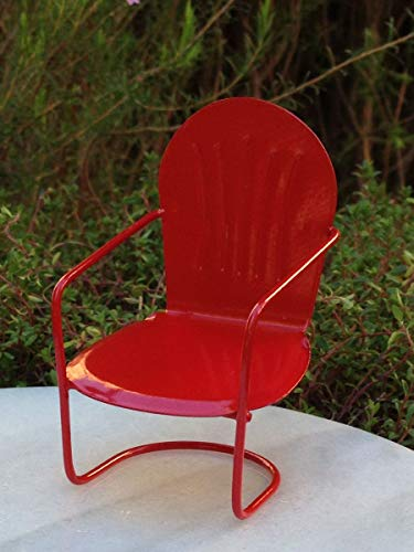 Miniature Dollhouse Fairy Garden Furniture ~ Red Metal Glider Chair ~ New -