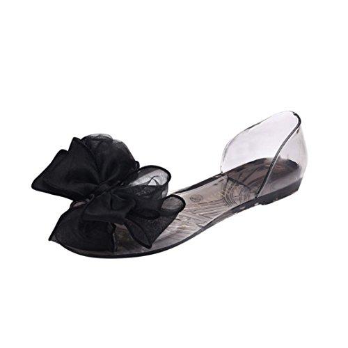 LHWY Sandalen Damen Slipper, Frauen Mode Bogen Fisch Mund Rutschfeste Flache Strand Schuhe Sandalen für Teen Mädchen PVC Schwarz