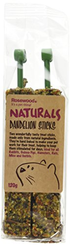 Rosewood Pet Dandelion Sticks - Healthy Treat For Small Animals (1 Pack), 5.2Oz