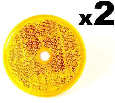 2x E-Approved Round Circular Reflectors Amber 50mm FREE FIRST CLASS UK POSTAGE!