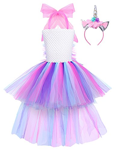 YiZYiF Girls Inspired Mythical Outfit Birthday Tutu Party Dress with Horn Hair Hoop Ballet Costumes Colorful with Train 5-6 by YiZYiF