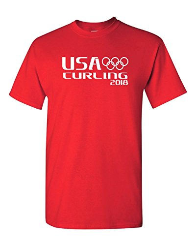 Star Game Red T-shirt (USA Curling T Shirt PyeongChang Winter Olympics Games 2018 (L, Red))
