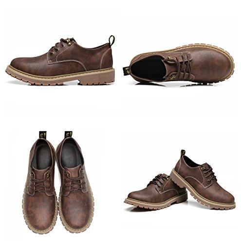 Cuir 39 Vintage Business Marron Derby Bronzer Homme Décontractée Lacets Vernis Gris Élégant Mode Mariage de Chaussure 47 Ville Marron dw7ad