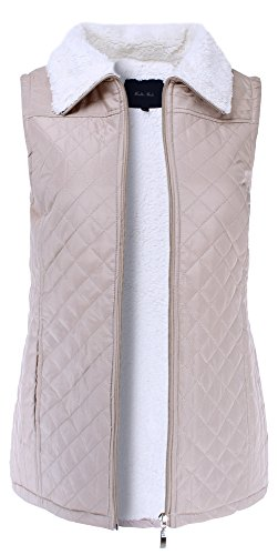 (Ladies' Code Fur-Lined Sherpa Quilted Zip Up Puffer Vest Taupe S Size)