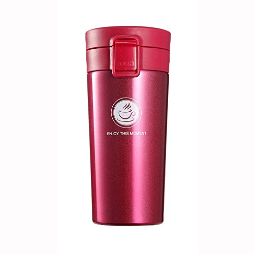 Sendia Vacuum Insulated Stainless Steel Commuter and Travel Mug with Tea Leaf Filter for Coffee / Tea / Milk / Juice, 13oz (380ml), Dark Rose Red