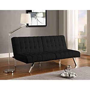 Modern Leather Futon Sofa Bed Convertible U0026 Adjustable Multiple Colors No  Arms Home Decor Large Single Sleeper With Metal Legs Chair For Living Room  (Black) ...