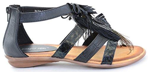 Plume De Paon À Bout Ouvert Sandales Plates Dété Compensées Noir