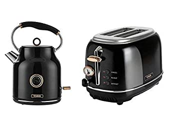 Set Of 2 Kitchen Electrical Appliance Retro Stylish Set Tower Rose Gold Black Bottega 2 Slice Toaster And 1 7 Litre Bottega Traditional Quiet Boil