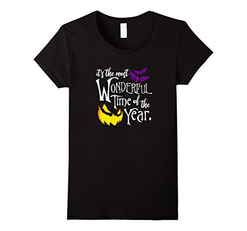 Womens Halloween Most Wonderful Time Of The Year Novelty t-shirt Large Black (Universal Halloween Horror Nights Time)
