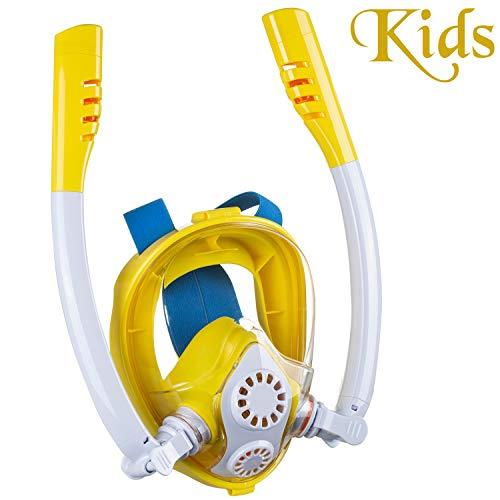 Cevapro Snorkel Mask, Safe K2 Breathing System Full Face Snorkeling Mask for Natural Breath & Safe Snorkeling Anti Leak Anti Fog Diving Mask Dry Snorkel Set for Kids Adult (Yellow-White, ()