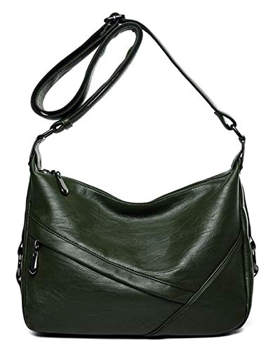 Green Zippered Faux Leather Purse - Women's Retro Sling Shoulder Bag from Covelin, Leather Crossbody Tote Handbag Dark Army Green