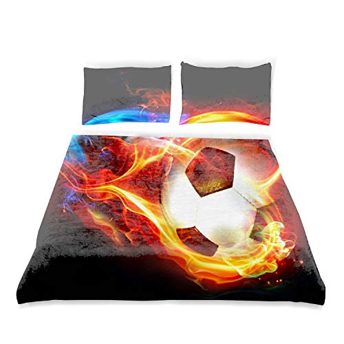 Kids Twin Bedding Duvet Cover Set,Premium Microfiber,Flaming Soccer Colorful Comforter Cover Pillowcases with Zipper Closure ()