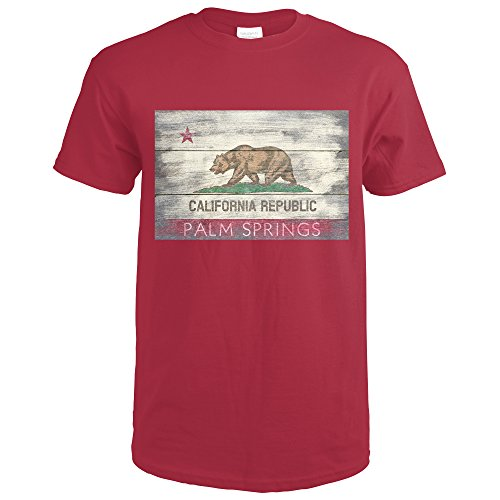 Palm Springs, California - Rustic California State Flag (Cardinal Red T-Shirt - Palm Shirt T