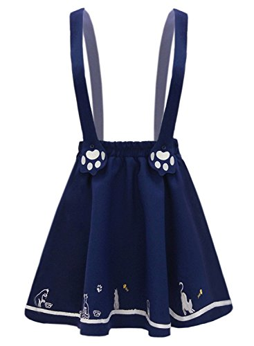 futurino Women's Sweet Cat Paw Embroidery Pleated Mini Skirt with 2 Suspender ()