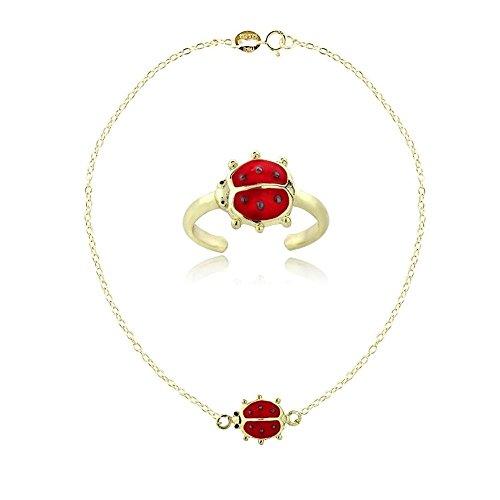 Glitzs Jewels Gold Tone Over Sterling Silver Enamel Ladybug Anklet and Toe Ring Set