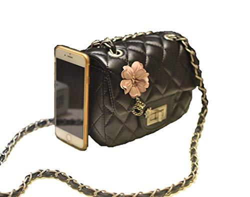 Handbag Black Cross Casual Body Salon Lady Black Flower flower Bag Leather Bags Simple Design Mini 0XIxUOq