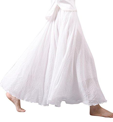 (Chouyatou Women's Summer Expandable Waist Giant Swing Cotton Linen Maxi Skirt (Length-85CM, White))