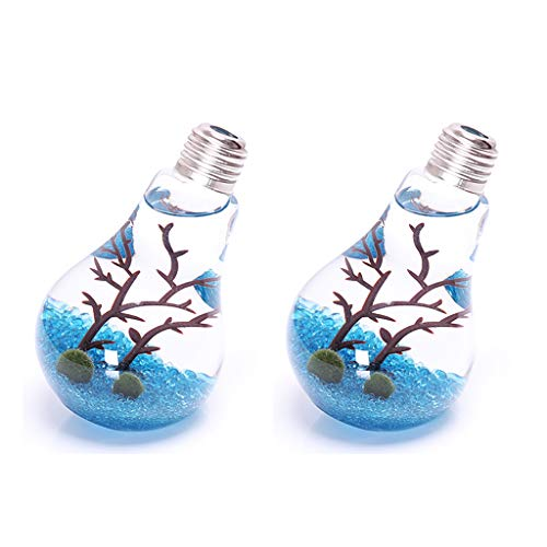 (Ivolador Set of 2 PCS Unique Tilt Lightbulb Glass Flower Air Planter Vase Terrarium Container Home Garden)