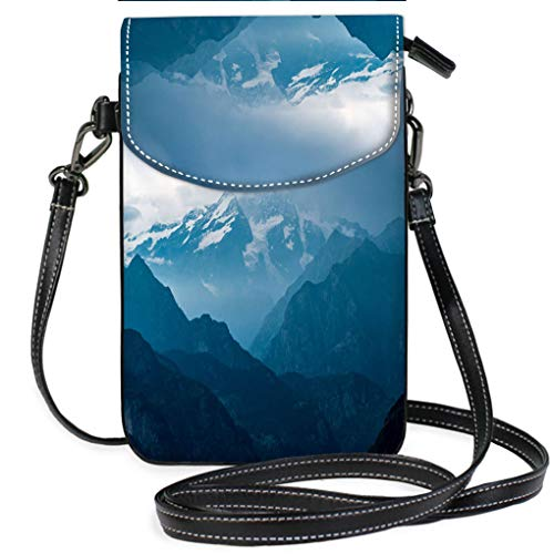 High-end Fashion Microfiber Crossbody Bag Italian Alps Monte Rosa Mountain Range Landscape at Sunset Casual, Lightweight Multi Pockets Crossbody Bag