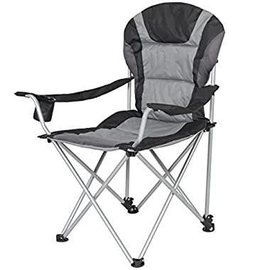 Best Choice Products Folding Deluxe Padded Reclining Camping Fishing Beach Chair With Portable Carrying Case