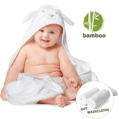 Organic Bamboo Baby Hooded Towel with Bonus Washcloths Set, Premium Ultra Soft and Super Absorbent Bath Towels with Cute Bunny Ears Design, Great Infant/Newborn Shower Present for Boy or Girl, 35
