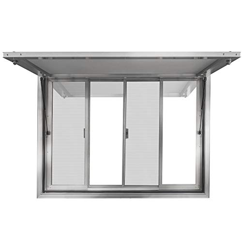 New Concession Stand Window with Awning Door for Food Trucks, Concession Trailers, and Concession Stands with 2 Center Horizontal Slide Windows (53