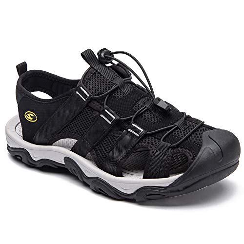 HOBIBEAR Men Outdoor Hiking Sandals Breathable Athletic Climbing Summer Beach Shoes Black-c Size 6.5 -