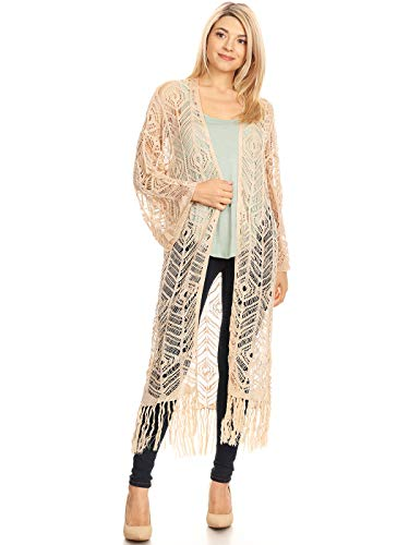 - Anna-Kaci Womens Long Fringe Tassels Cutout Kimono Cardigan with Long Sleeves,Tan,Large
