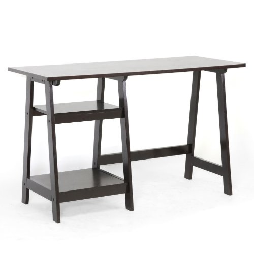 Baxton Studio Mott Dark Brown Wood Modern Desk with Sawhorse Legs, Small