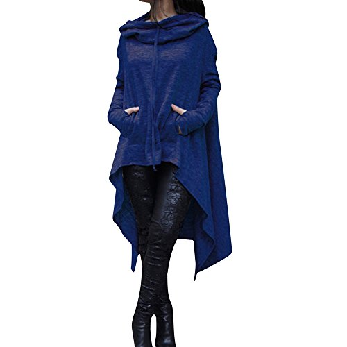 (Women Loose Hoodie Long Hooded Tops Ladies Sweatshirt Sweater Asymmetric Blouse(Blue,S))