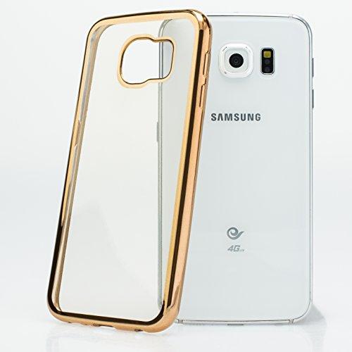 Mobilefox farbiger Rand Schutzhülle TPU Case Samsung Galaxy S6 gold