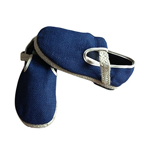 Meijunter Unisex Pure Color Leinen Segeltuchschuhe Slip-on Leisure Shoes Flache Schuhe Hausschuhe Comfy Blau