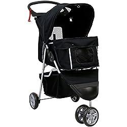 Kinbor Pet Stroller Cat Dog Cage 3 Wheels Stroller Travel Folding Carrier (black)