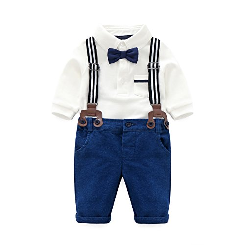 Baby Boys Long Sleeve Shirt+Denim Overalls Outfit Suits with Bowtie, Infant Gentleman Pants (Boys Denim Overall Set)