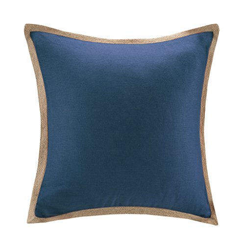 Jute Throw (Madison Park Linen With Jute Trim Square Pillow Navy 20x20)