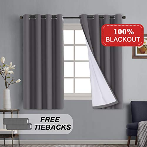 Full Blackout Grey Curtain Panels for Bedroom Lined Curtains 63 inch Long Thermal Insulated Grommet Cotton Finishing Curtains 2 Bonus Tie-Backs Cotton Curtains, 52 by 63 inch, 2 Panels