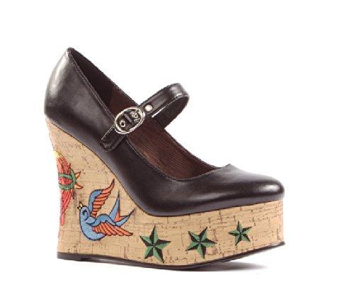 Zapato Del Tamaño De Mujeres De La Bomba De La Cuña De 4.5 Pulgadas Con El Bordado Del Tatuaje (pu-5 Negro)