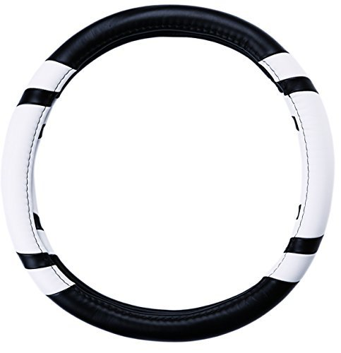 Merry Automotive New Grid Design Steering Wheel Cover for Your Car,leather Material,diameter 38cm,four Seasons General (White) (Pink Camaro Steering Wheel Cover compare prices)