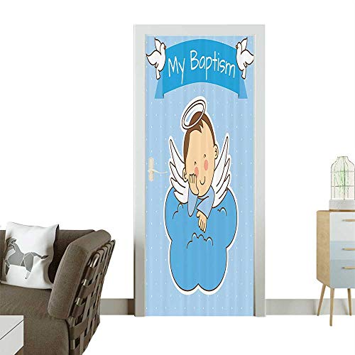 - Homesonne Door Sticker Wallpaper My Baptism Sign Baby Anniversary Birth Arrival Bird Fowl Animal Clipart Fashion and Various patternW35.4 x H78.7 INCH