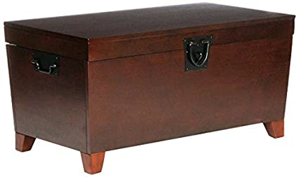 Gentil Southern Enterprises Pyramid Storage Trunk Cocktail Table, Espresso Finish
