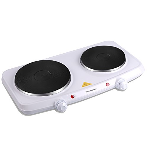 Homeleader Double Hot Plate, 1500W Stainless Steel Portable Induction Cooktop Countertop Burner with Dual Temperature Control, White