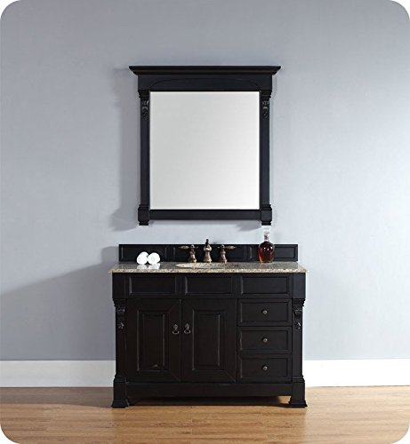 James Martin Furniture Brookfield 48″ Antique Black Single Vanity w/Drawers Brookfield Black Vanity – 4 cm galala Beige top