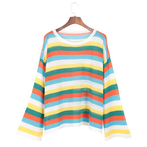Women's Rainbow Stripe Knitted T Shirt Flare Long Sleeve Pullover Loose Thin Top (Rainbow Stripe Shirt)