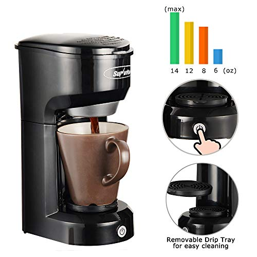 SUNVIVI OUTDOOR Single Serve Coffee Maker Brewer for Single Cup, K-Cup Coffeemaker With Permanent Filter, 6oz to 14oz Mug, One-touch Control Button with Illumination (Black)