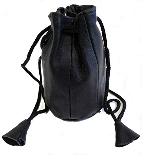 2pc Lot Soft Lambskin Leather Coin Bags Drawstring Closure Black Color - Lambskin Drawstring