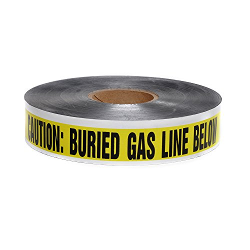 (Swanson DETY21005 2-Inch by 1000-Feet 5-MIL Detectable Tape Caution with Buried Gas Line Below Yellow/Black)