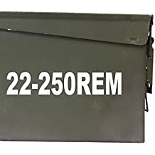 """FGD 22-250 REM Ammo Box Decal Sticker Label Set Two 7""""x1.5 One 4""""x0.75"""" (Labels Only Ammo Can NOT Included)"""