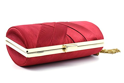 with Bags Clutch Party Purse Weaving Tassel Red Wedding Evening Ruiatoo Handbag Women's Bridal for FqpxTnwE0t