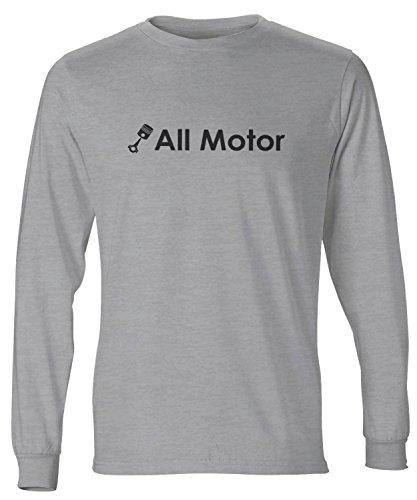 ShirtLoco Men's All Motor Long Sleeve T-Shirt, Light Steel Extra Large